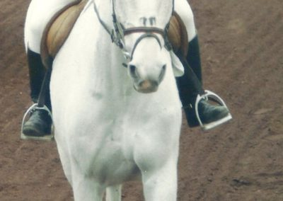 Therese monte le cheval Chamala en 1996
